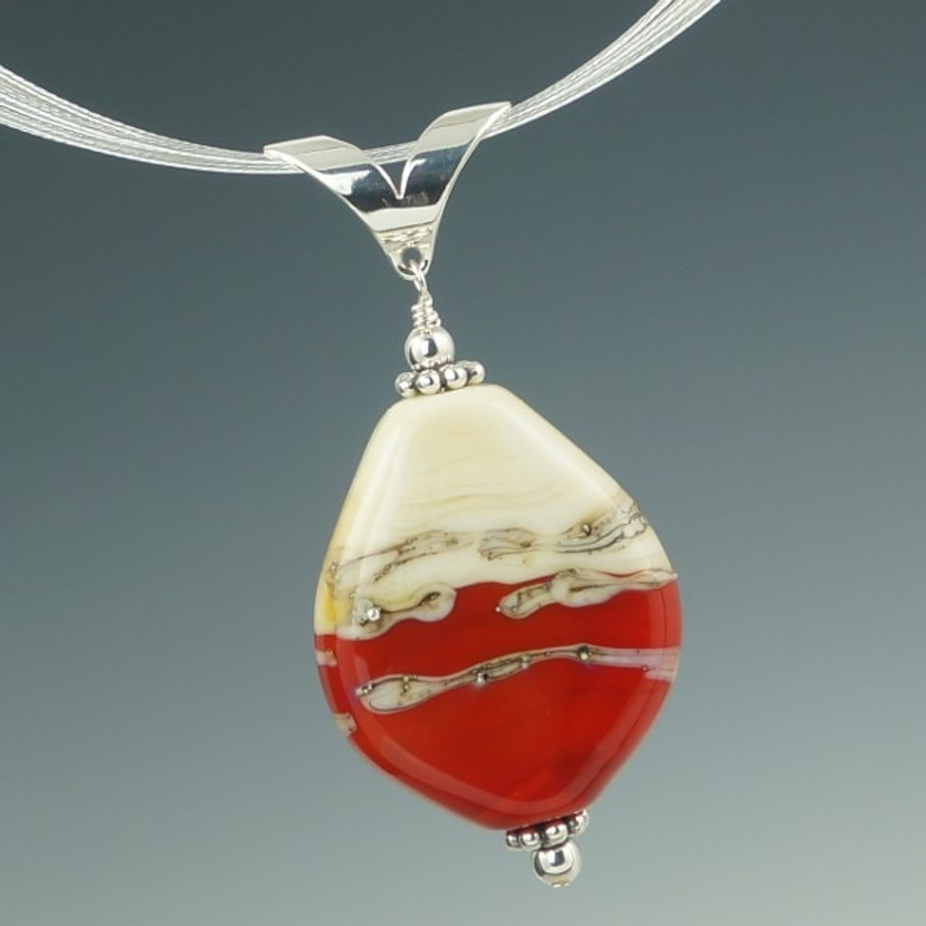 Red & Ivory Swirl Pendant
