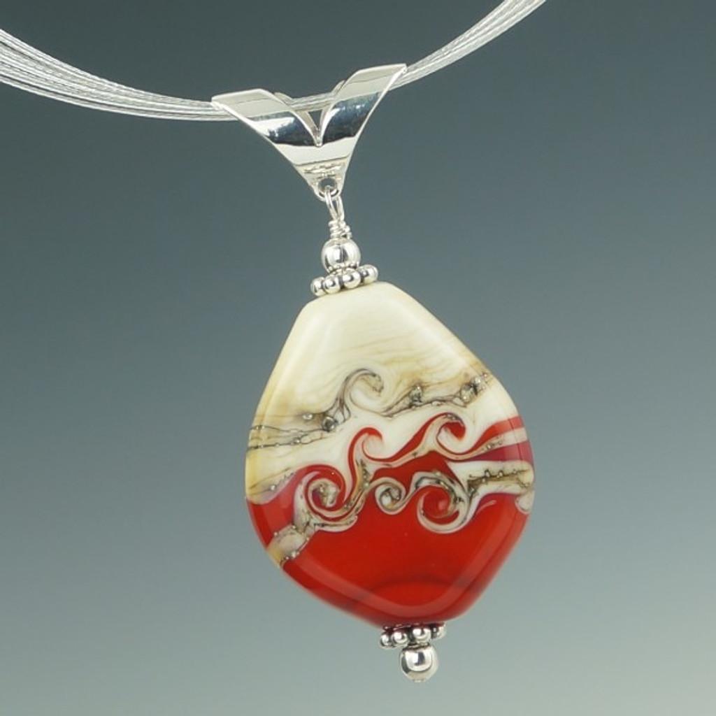 Ivory & Red Swirl Pendant
