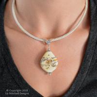 Dark Amber & Ivory Swirl Pendant