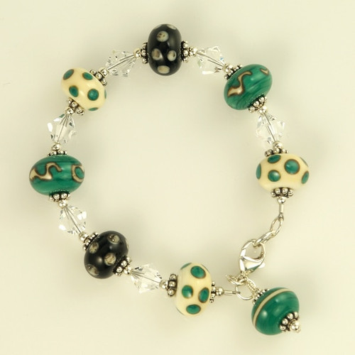 Stone Green, Ivory & Black Bracelet