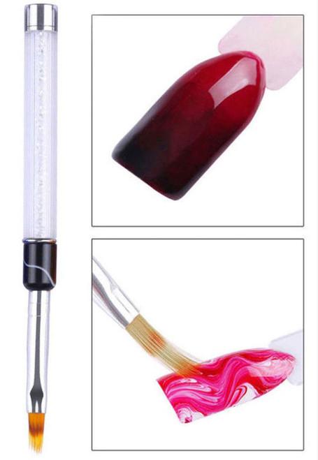 NDi beauty Professional Clear Rhinestone Handle Ombre Brush