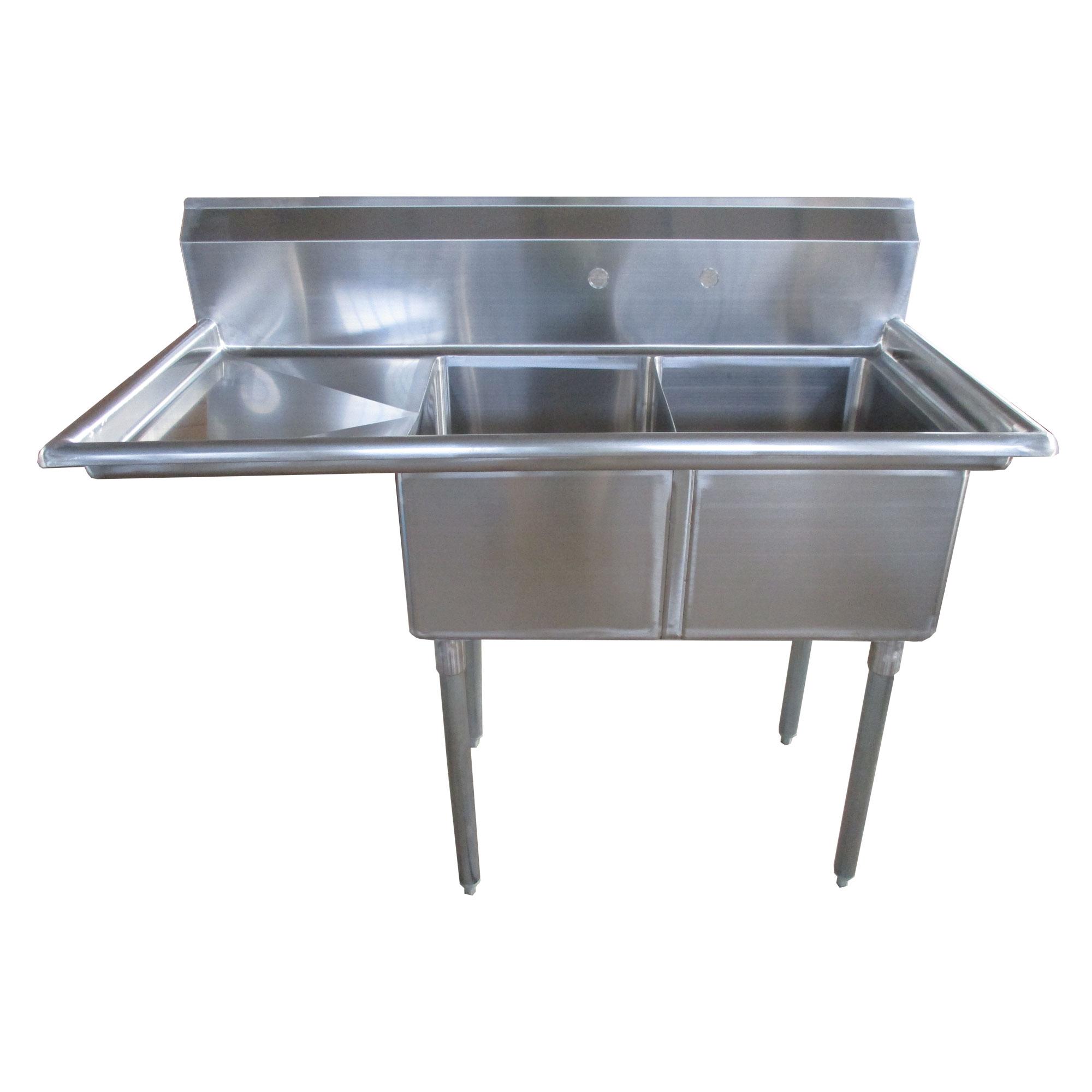 Image of Atlantic Metalworks 2CS-162012-1* - 16x20x12 Economy 2 Bowl 1 Drainboard Sink