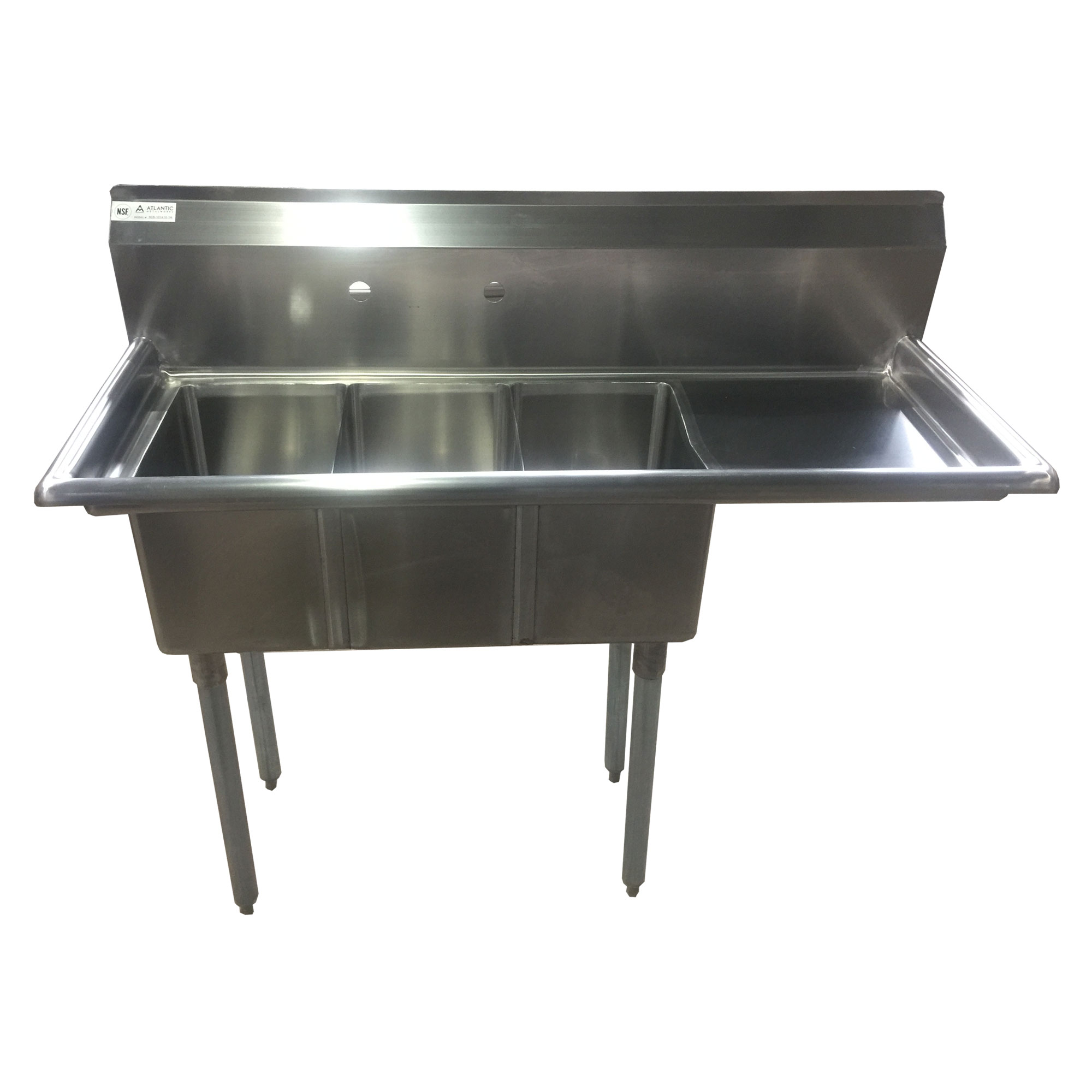 Image of Atlantic Metalworks 3CS-101410-1* - 10x14x10 Economy 1 Drainboard 3 Bowl Sink