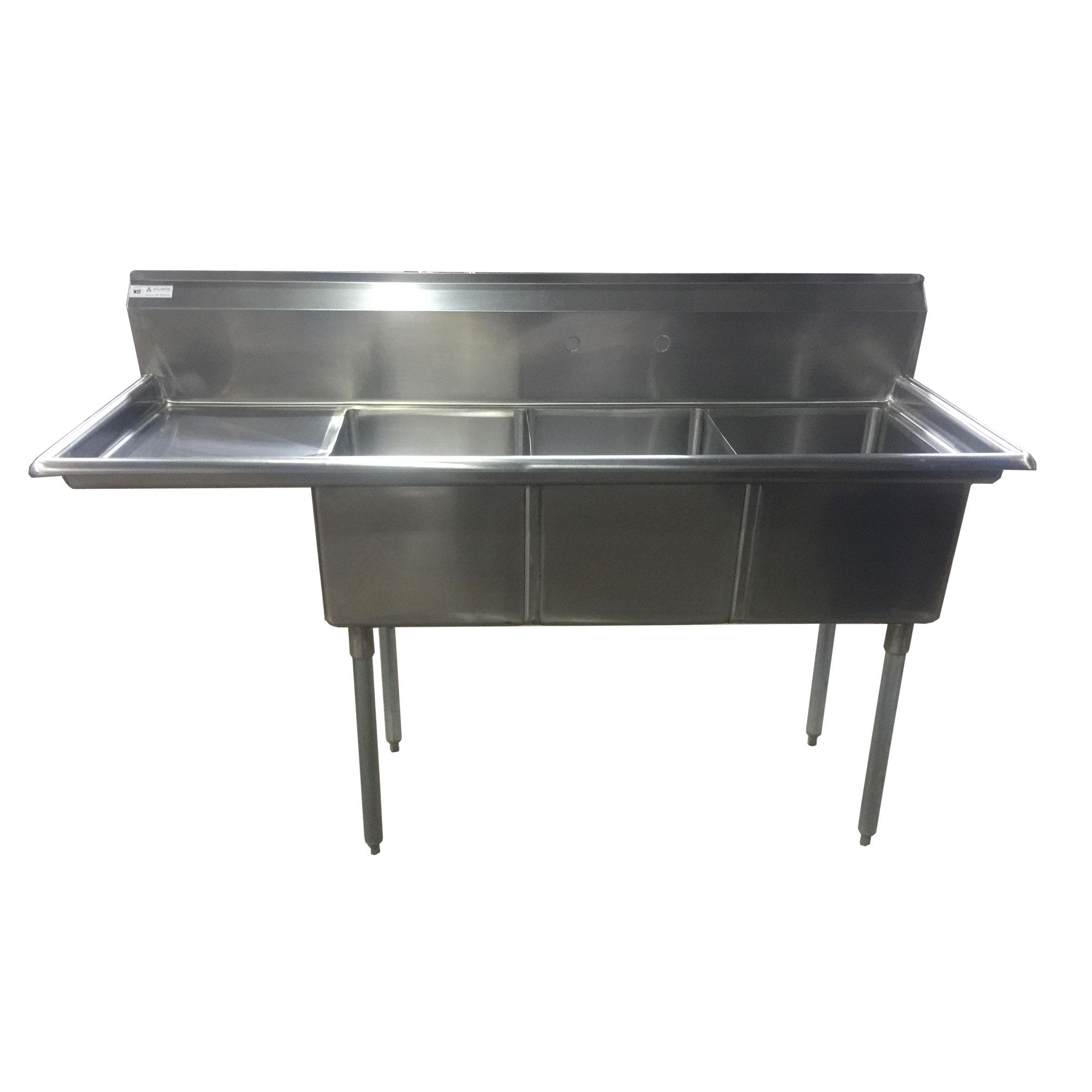 Image of Atlantic Metalworks 3CS-162012-1L/R - Economy 3 Compartment 1 Drainboard Sink