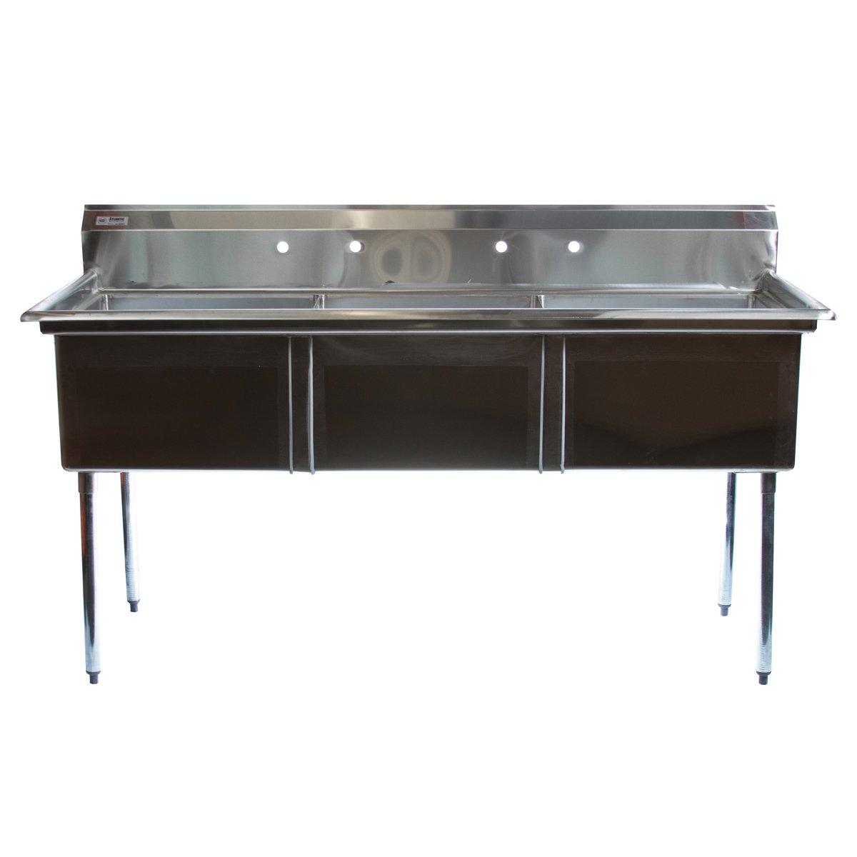 Image of Atlantic Metalworks 3CS-242414-0 - Economy 3 Compartment No Drainboard Sink