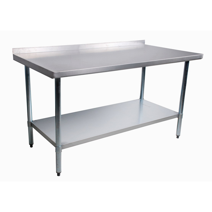 stainless steel commercial work table with backsplash