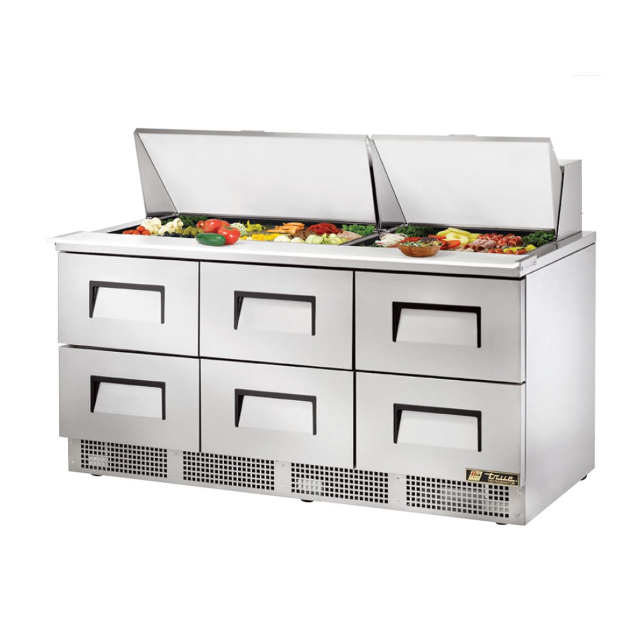 "True TFP-12-12M-D-12 - 12"" 12 Bin 12 Drawer Sandwich/Salad Prep Table"