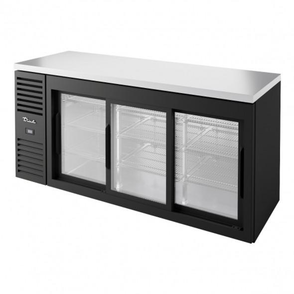 Front side of the True TBR72-RISZ1-L-B-111-1 Sliding Glass Door Back Bar Cooler