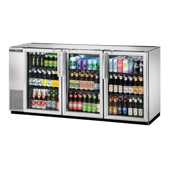 True's TBB-24GAL-72G-S-HC-LD Back Bar Cooler filled with product