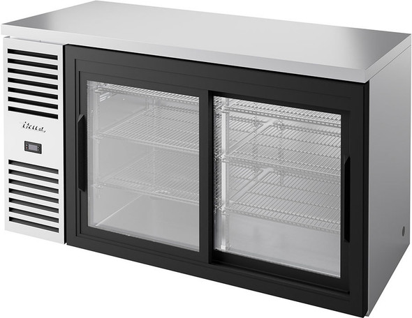Front view of a fully stocked True TBR60-RISZ1-L-S-11-1 Stainless Steel Back Bar Cooler