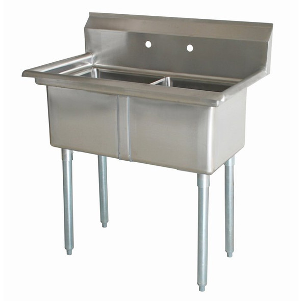 Atlantic Metalworks 2CS-242414-0 24x24x14 No Drainboards 2 Compartment Sink