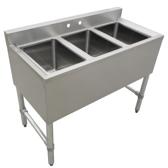 Atlantic Metalworks 3 compartment no drainboard underbar sink