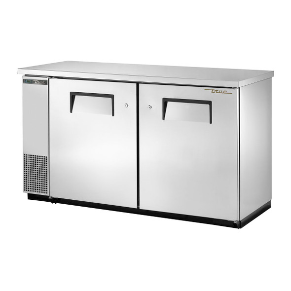 True's TBB-24-60-S-HC Stainless Steel Bar Back Cooler standing against a white backdrop