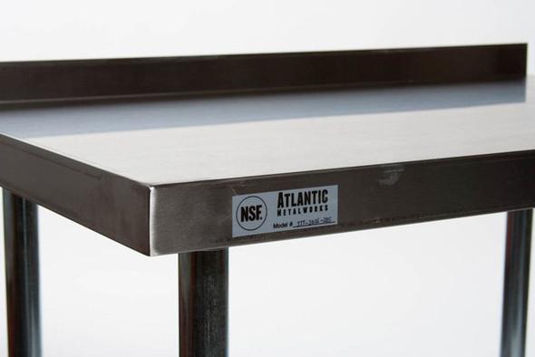 Atlantic Metalworks Stainless Steel Work Table corner