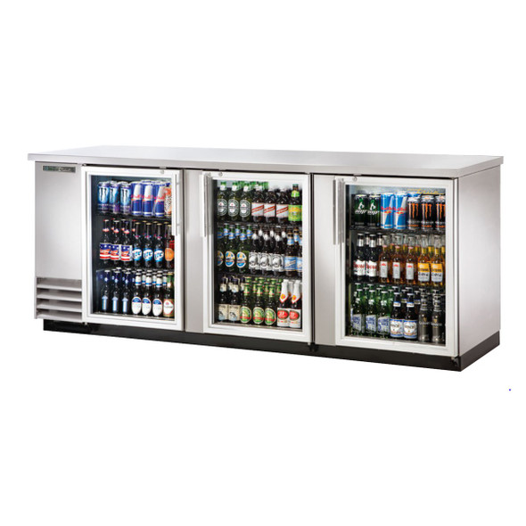 "Front view of the True TBB-4G-S-HC-LD 91"" Stainless Steel Glass Door Back Bar Cooler"
