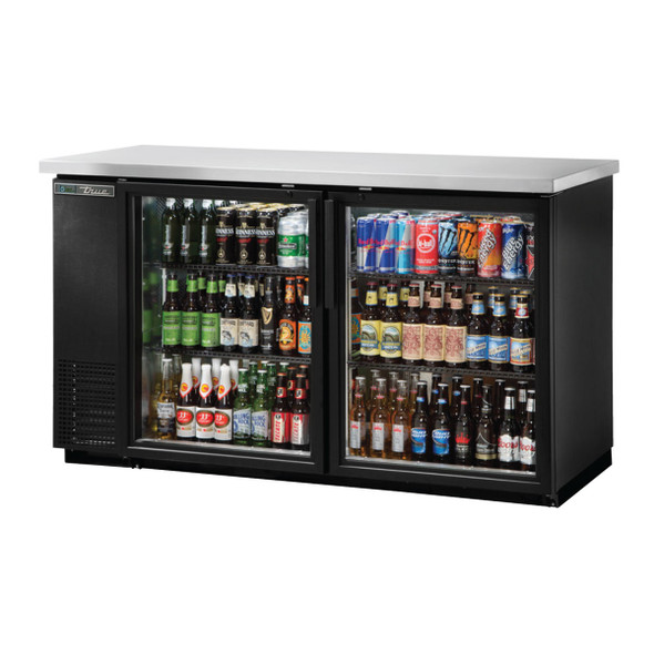 A fully stocked True TBB-24-60G-HC-LD Glass Door Back Bar Cooler