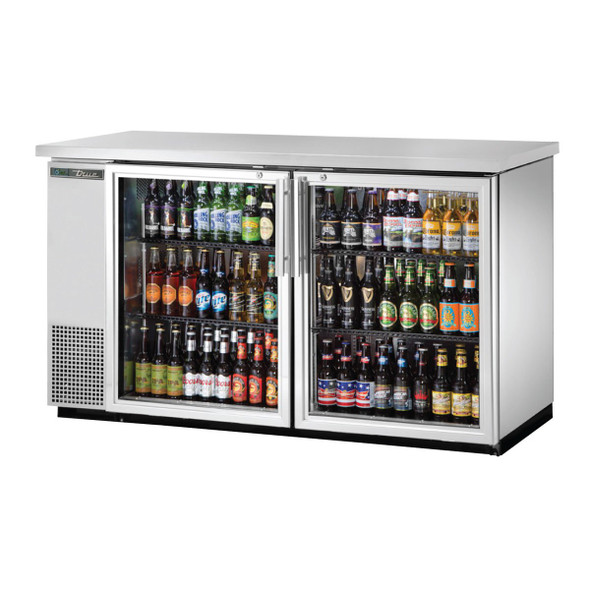 True TBB-24-60G-S-HC-LD Stainless Steel Glass Door Back Bar stocked with drinks