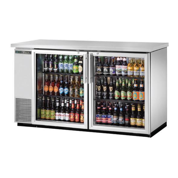 True TBB-24-60G-S-HC-LD Stainless Steel Glass Door Back Bar stocked with drinks