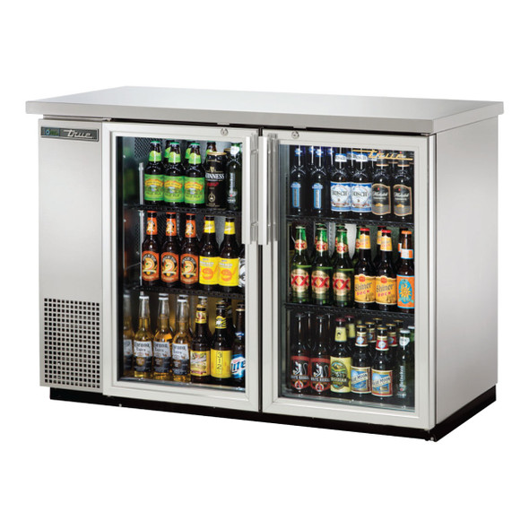 xTrue TBB-24-48G-S-HC-LD Stainless Steel Glass Door Back Bar Cooler with product inside