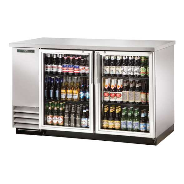 Front side of the True TBB-2G-S-HC-LD Stainless Steel Glass Door Back Bar Cooler