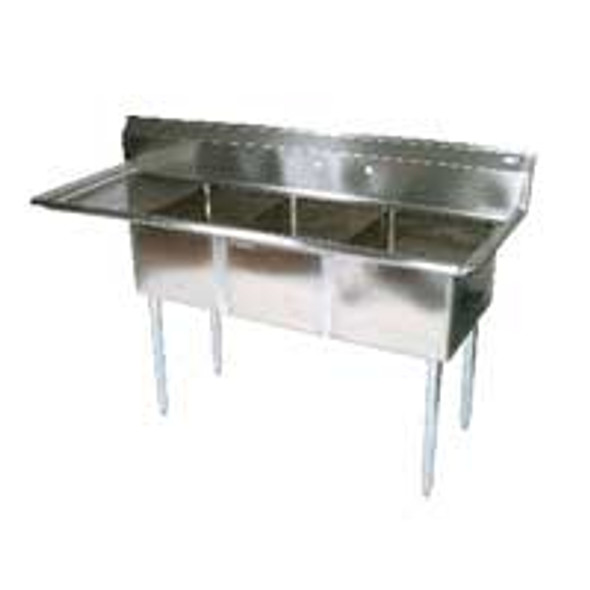 BK Resources BKS-3-24-14-24L - 24 x 24 x 14 Bowls - 1 Drainboard - 3 Compartment Sink