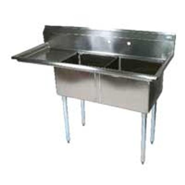 BK Resources BKS-2-18-12-18R - 18x18x12 Bowls 1 Drainboard 2 Comp Sink