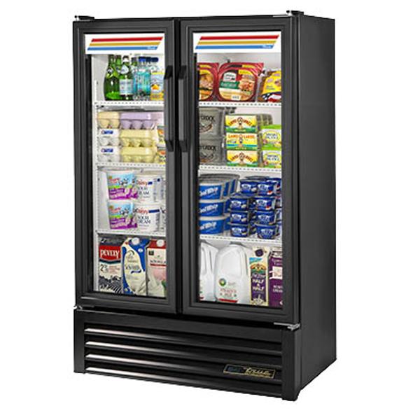 True GDM-36SL-HC-LD Slim Line Glass Swing Two-Door Merchandising Refrigerator