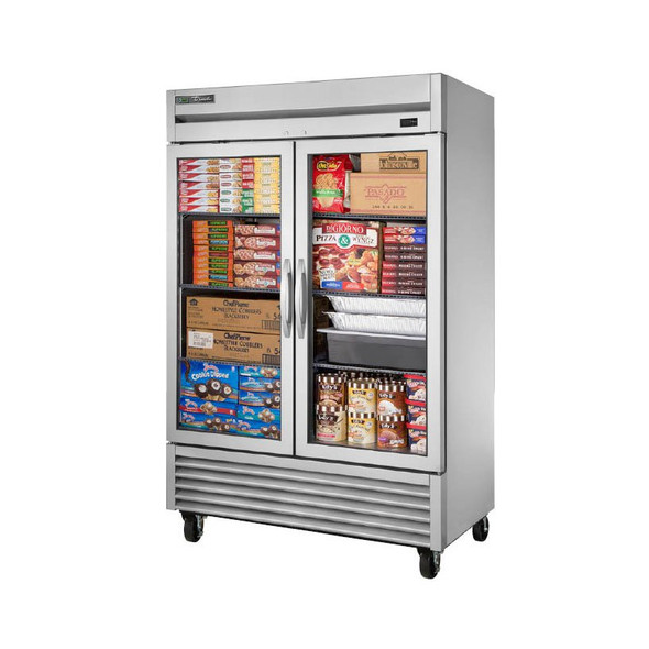 True's T-49FG-HC~FGD01 freezer filled with foods and desserts