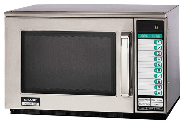 Angle view of Sharp's R-25JTF 2100W Microwave w/ Touchpad
