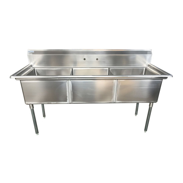 Atlantic Metalworks 24 x 24 x 14 Bowls - No Drainboard - 3 Compartment Sink
