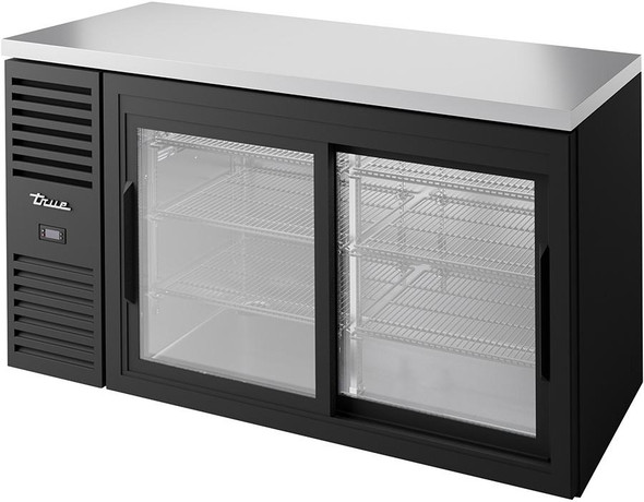 True TBR60-RISZ1-L-B-11-1 Sliding Glass Door Back Bar Cooler filled with beverages
