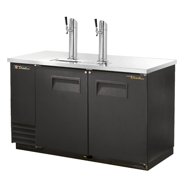 True TDD-2-HC Kegerator Direct Draw Beer Dispenser - 2 Kegs - Black