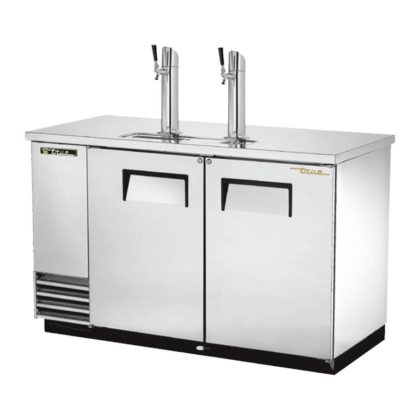 True TDD-2-HC Kegerator Direct Draw Beer Dispenser - 2 Kegs - Stainless