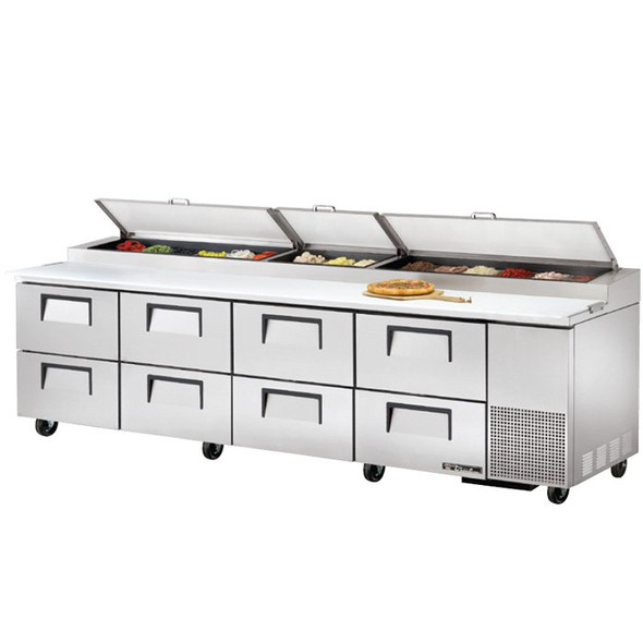 "TPP-119D-8 True 119"" Pizza Prep Table w/ 8 Drawers"