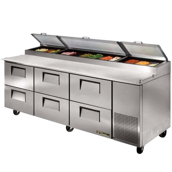 "TPP-93D-6 True 93"" Pizza Prep Table w/ 6 Drawers"