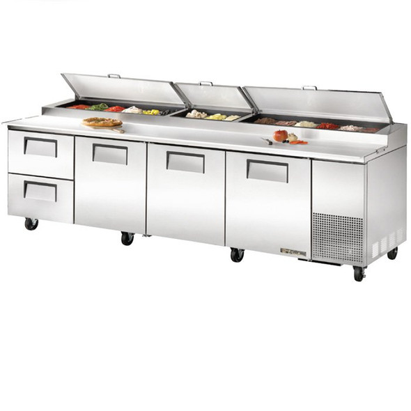 """TPP-AT-119D-2-HC True 119"""" Pizza Prep Table w/ 2 Drawers"""