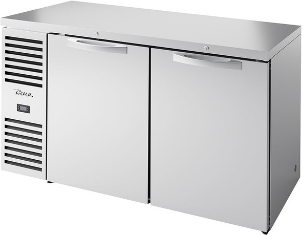 Front, angled view of True TBR60-RISZ1-L-S-SS-1 Food-Rated Back Bar Cooler