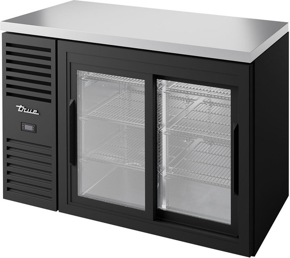 True TBR48-RISZ1-L-B-11-1 Sliding Glass Door Back Bar Cooler fully stocked