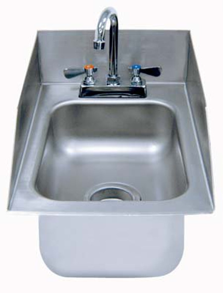 Lead Free Drop-In Sink Stainless with Side Splashes 10x14x5