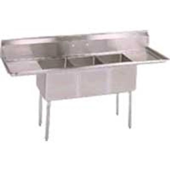 BK Resources BKS-3-15-14-15T - 3 Comp Sink 15x15x14 Bowls 2 DB