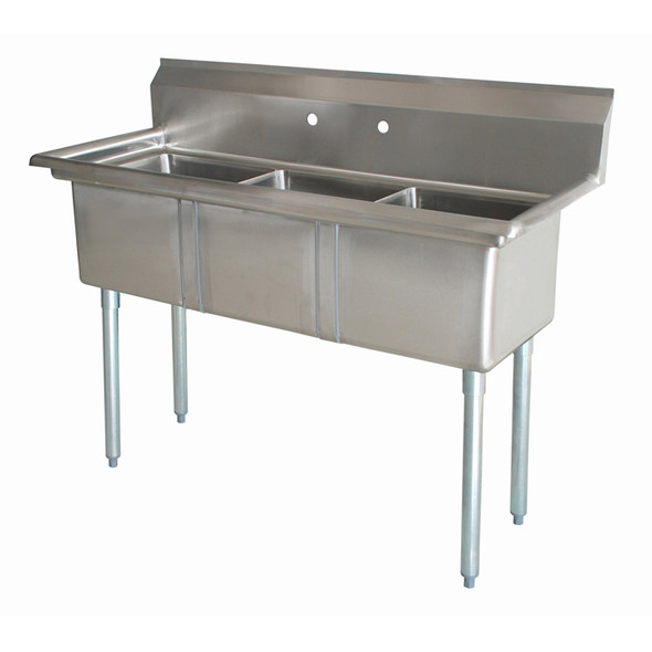 The 3CS-101410-0 Atlantic Metalworks 10 x 14 x 10 Bowl - 3 Compartment Sink