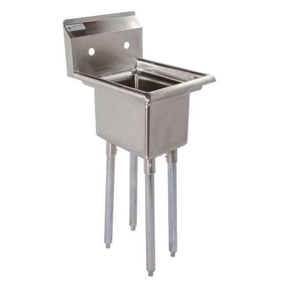 Atlantic Metalworks 1CS-101410-0 - 10x14x10 No Drainboard Economy 1 Bowl Sink - Angle