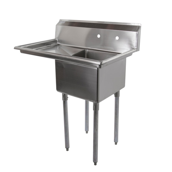 Atlantic Metalworks 1CS-181812-1L - 18x18x12 1 Drainboard 1 Bowl Sink angle