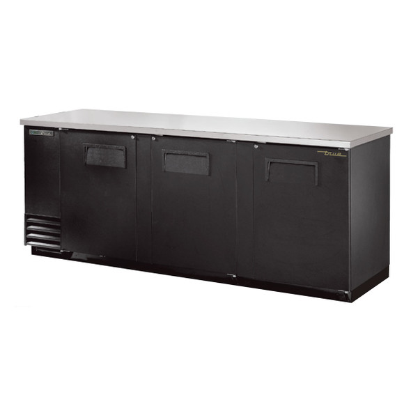 Front view of True's TBB-4-HC Solid Door Back Bar Cooler