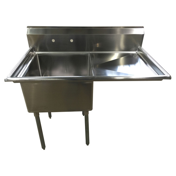 Atlantic Metalworks - 24 x 24 x 14 Bowl - 1 Right Drainboard - 1 Compartment Sink