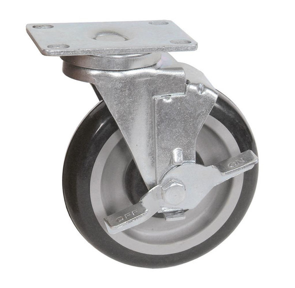 BK Resources Plate Casters - 5SBR-1PT-PLY-TLB
