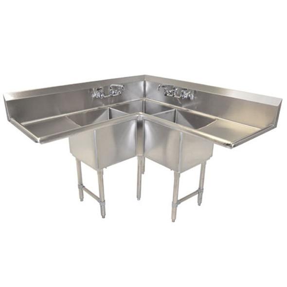 "18 x 14 x 18 Bowls - 2 18"" Drainboards - BK resources 3 Compartment Corner Sink"