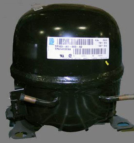 Front view of the start components and specification sticker on the True 803100 compressor manufactured by Tecumseh (TPA1413YXA)