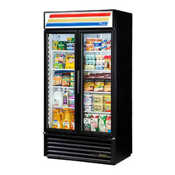 True GDM-35-HC~TSL01 Standard Glass Swing Two Door Merchandising Refrigerator