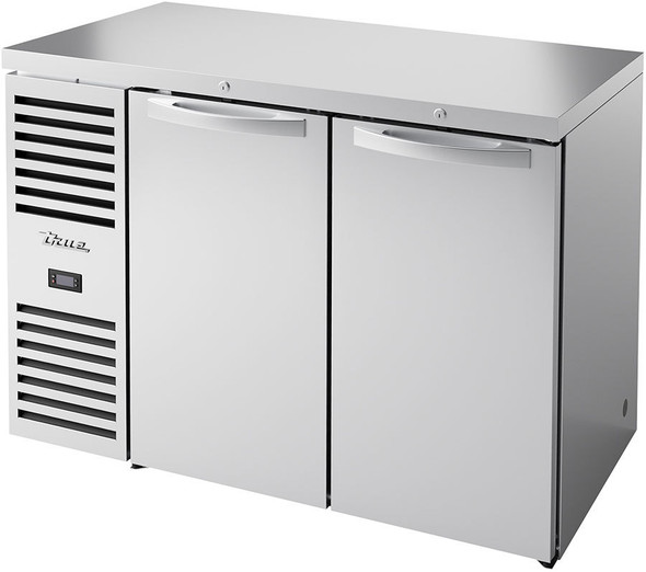 Front angle photo of True's TBR48-RISZ1-L-S-SS-1  Food-Rated Back-Bar Cooler